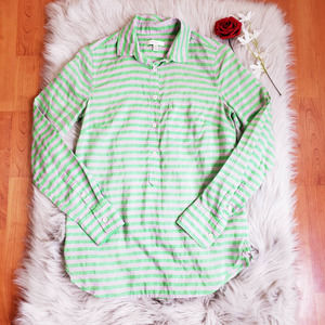 J. Crew Size 0 Striped Sheer 1/2 Button Up S